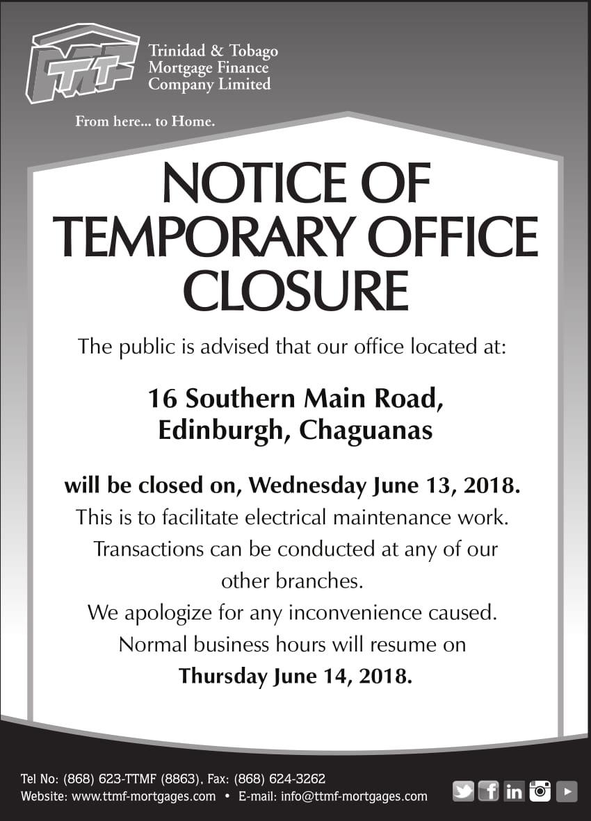 notice of temporary office closure